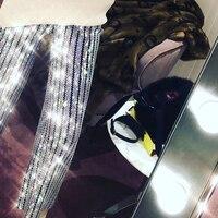 2018 модные новый клип исправление горный хрусталь Капри Дизайн высоких талии брюки BlingBling брюки
