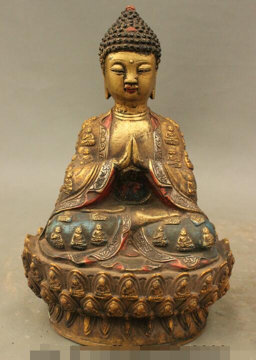 S4614 11 Tibet Bronze peinture Temple Amitabha Robe Shakyamuni Sakyamuni bouddha StatueS4614 11 Tibet Bronze peinture Temple Amitabha Robe Shakyamuni Sakyamuni bouddha Statue
