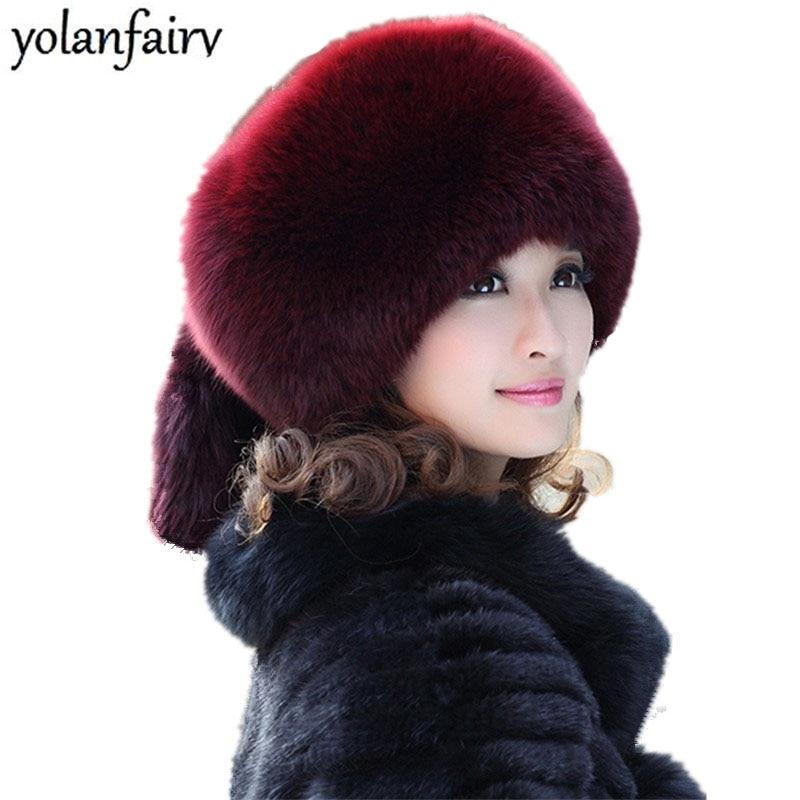 f7f21c1b Sombreros de invierno para mujeres 100% Gorros de piel de zorro otoño  Streetwear Bonnet mujeres ...