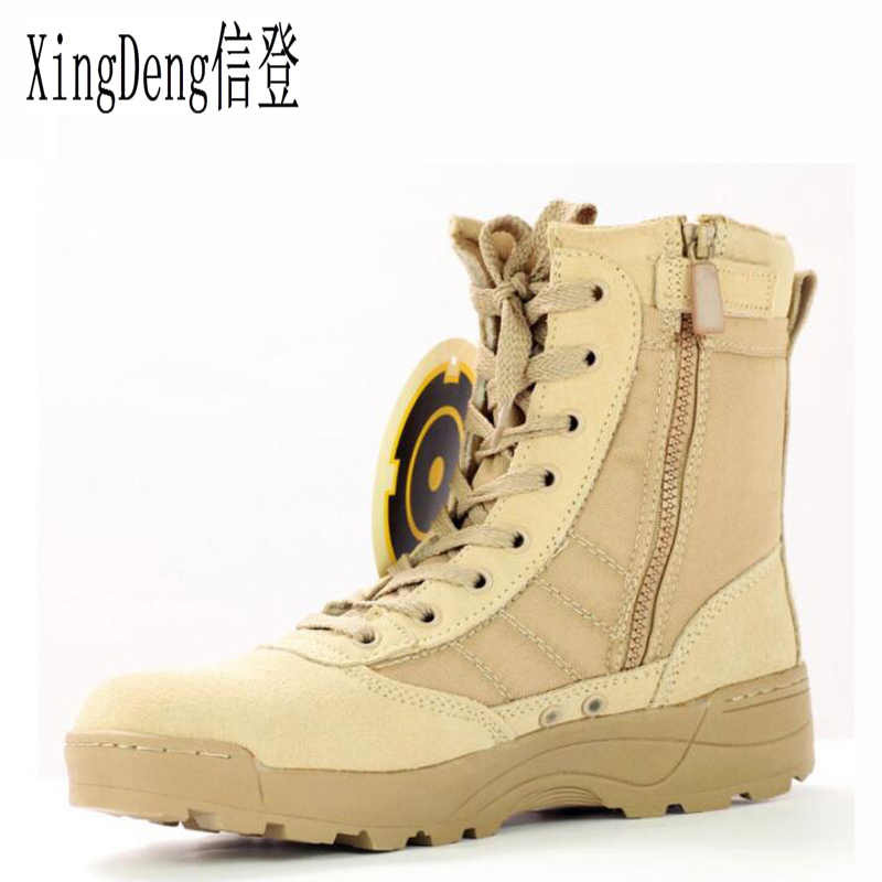 XingDeng wear-resistant Army Military Boots Shoes Plus Size 38-45 Brand Men Desert Tactical Combat Boots