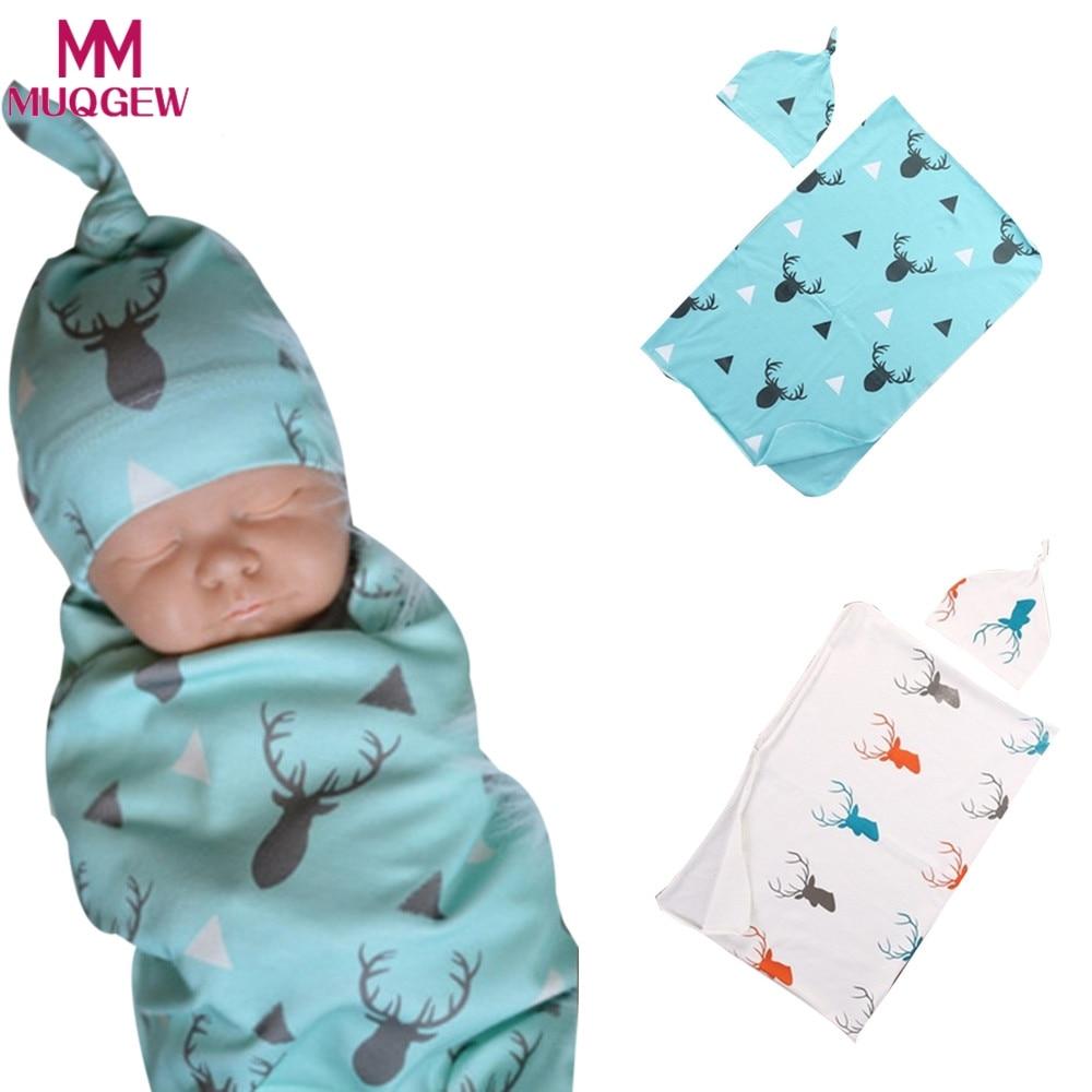 2pcs/set Baby Blankets with Hat Newborn Baby Soft Warm Deer Printed Blue Swaddle Wrap Sleeping Blanket Infant Bathing Towel