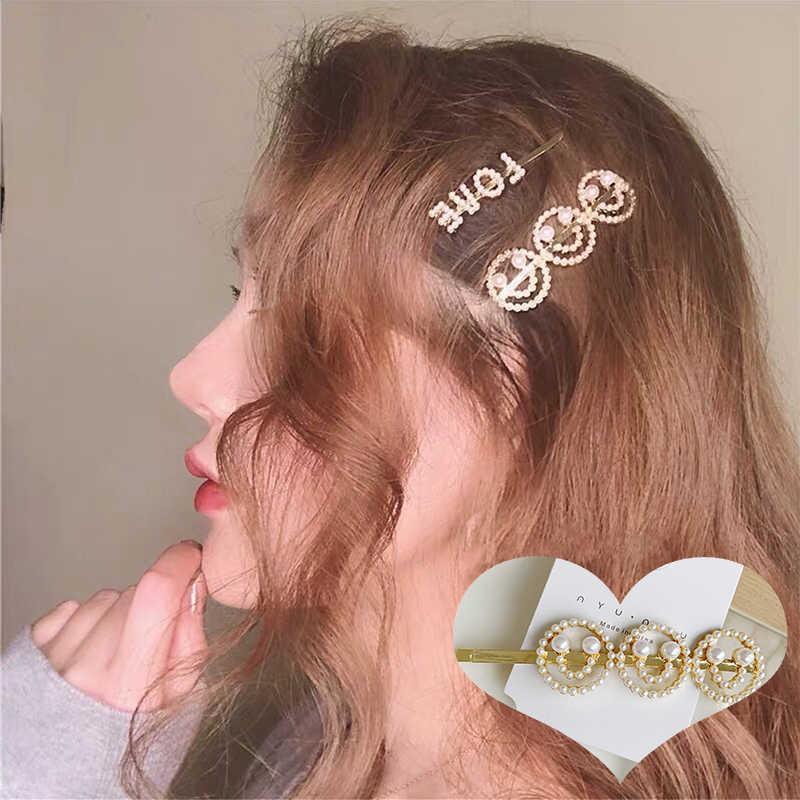 M мизм Сексуальная улыбка лицо заколки для волос для женщин INS стиль жемчуг девушки аксессуары для волос Modis английские буквы заколки для волос
