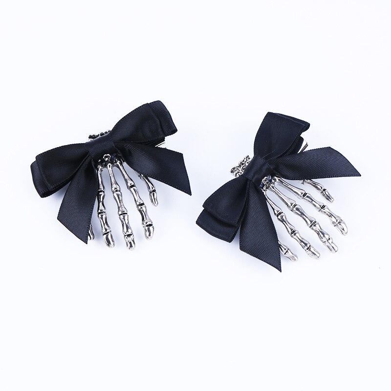 1 Stück Band Bowknot Schädel Hand Haar Clip Für Frauen Mädchen Haar Haarnadeln Haarspange Kinder Haar Zubehör Punk Stil Headwear