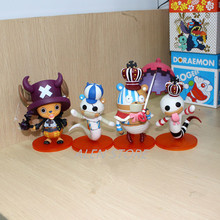 Alen 10cm 4pcs/lot Japanese anime figure one piece Halloween Gekko Moria/Perona/Tony Tony Chopper cosplay action figure set
