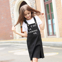 Girls Summer Dress Black Strap Dresses Casual Children S Clothing Cotton Frock Designs Baby Girl Clothes