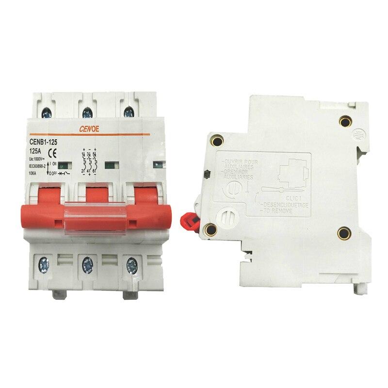 Mini disjoncteur solaire mcb 63A 80A 100A 125A de c. c 1000 V 3 P DC avec 1000A cassant la capacité pour la grande capacité solaire