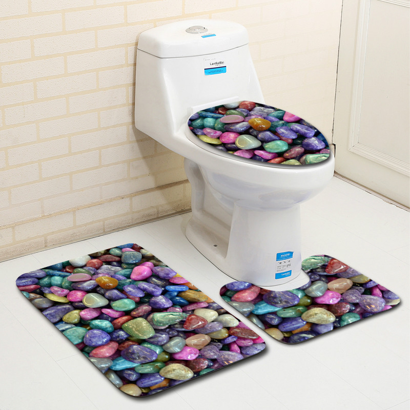 T 3D Printing Stone Bath Mat Sets 3pcs Christmas Bathroom Rugs Toilet Mat In Toilet Seat Covers