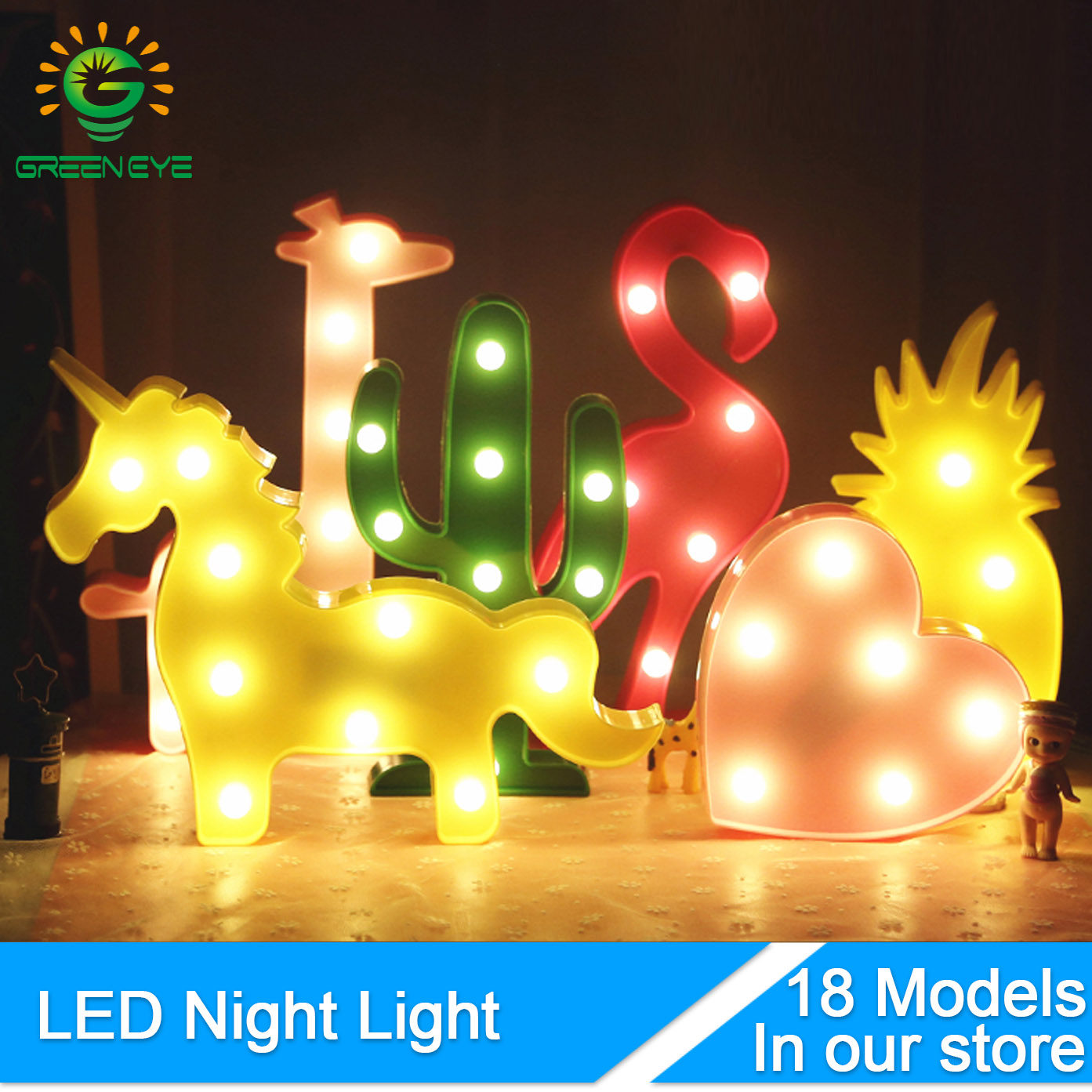 GreenEye LED Nightlight 3D Bulb Desk Table Wall Lamp Night Light Bulb For Baby Children Toy Party Bar Luminaria Ampoule Lampara yimia creative 4 colors remote control led night lights hourglass night light wall lamp chandelier lights children baby s gifts
