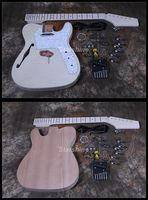 Starshine DIY Electric Guitar DK TL11 Guitar Kit Flamed Maple Top Semi Hollow body Unfinished Guitar