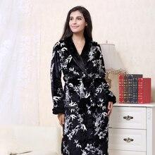 купить 2019 3XL Winter Thick Flannel Bridal Robe Women bathrobe Long Bath Robes Warm Men Kimono bathrobes Bride Sleepwear Gowns дешево
