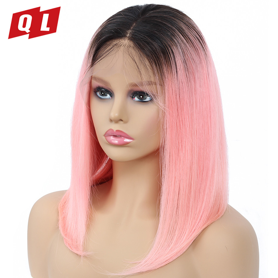 QLOVE Lace Front Human Hair Wigs Brazilian Remy Bob Wig Straight Human Hair Wigs For Women