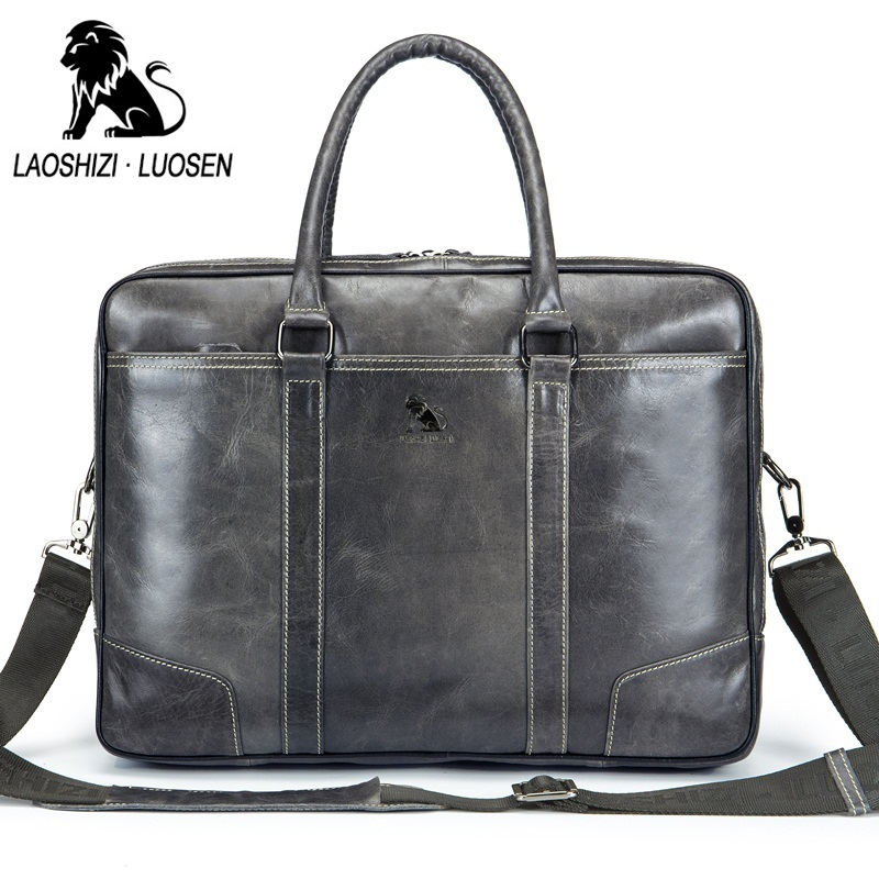 LAOSHIZI LUOSEN Laptop Bag 14 inches of Genuine Leather Men Shoulder Bags Business Casual Office Briefcase Bag Handbag