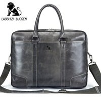 LAOSHIZI LUOSEN Laptop Bag 14 Inches Of Genuine Leather Men Shoulder Bags Business Casual Office Briefcase