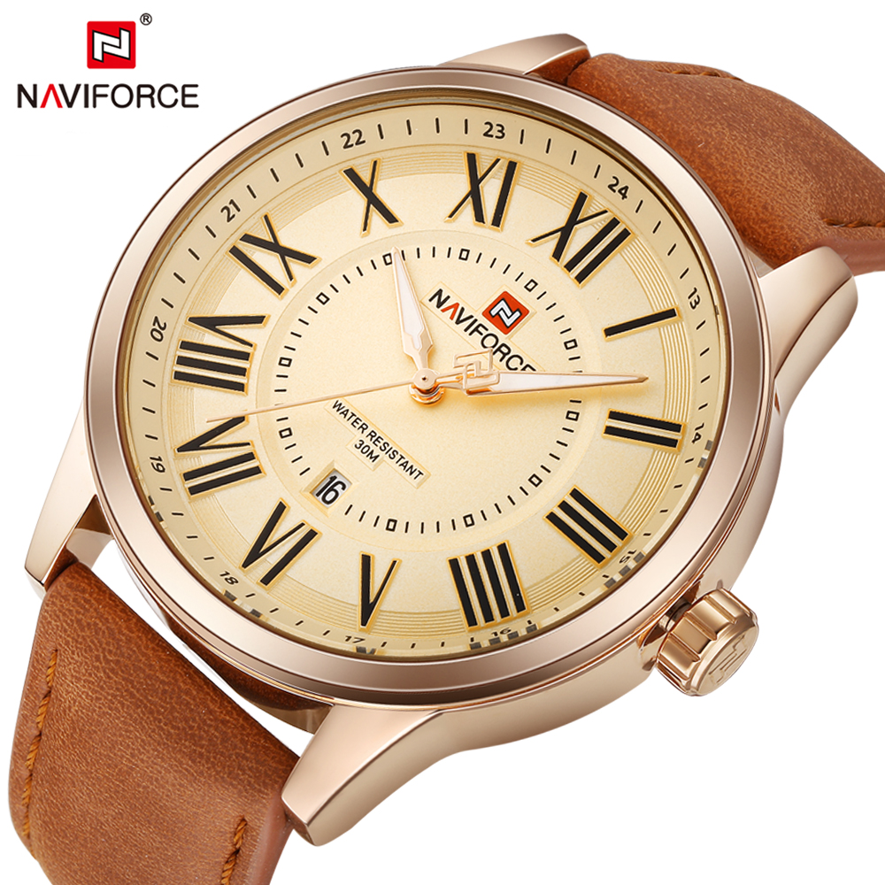 NAVIFORCE Top Luxury Brand Men Watches Leather Strap Watch Business Fashion Wristwatch Male Clock Big Dial Relogio Masculino new listing yazole men watch luxury brand watches quartz clock fashion leather belts watch cheap sports wristwatch relogio male