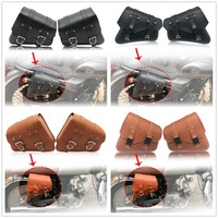 Motorcycle PU Leather Saddle Bags Luggage Black Left+Right Side Tool Bag For Honda Yamaha Harley Sportster XL 883 XL1200 Softail