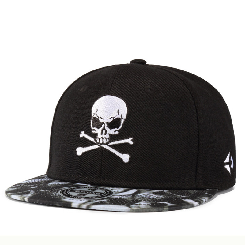 High Quality Brand Men's Hip Hop Hat Casual Street Skate Baseball Cap Personality Skull Embroidery Snapback Hat For Boys Girls Soft And Antislippery