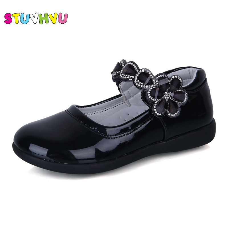 Size 26-37 Toddler Girl Patent Leather Shoes Spring Autumn Black/red/pink Soft Flat Bottom Flowers Rhinestone Princess Shoes