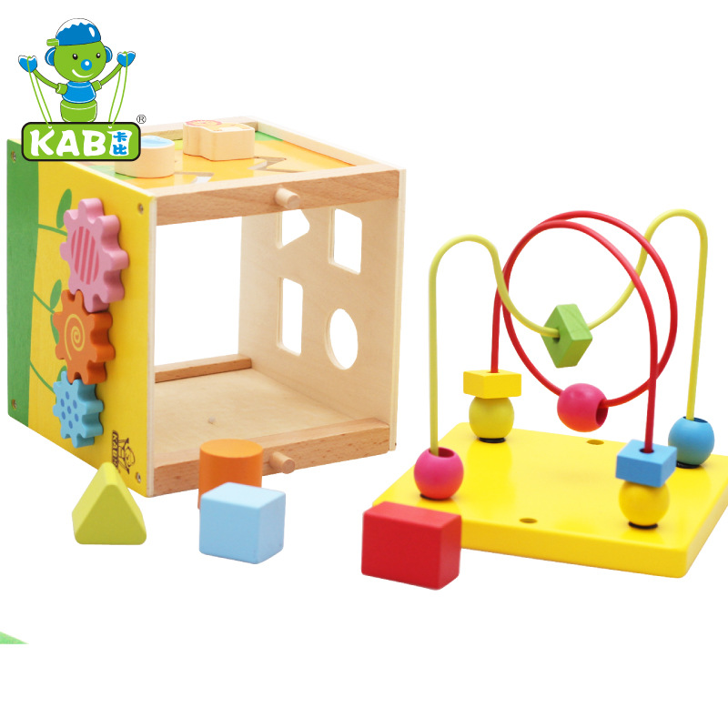Baby Toys New Arrival Multifunctional Toys Gallery 5 In 1 Bead/Clock/Gear Mini Box Wooden Toys Infant Educational Birthday Gift