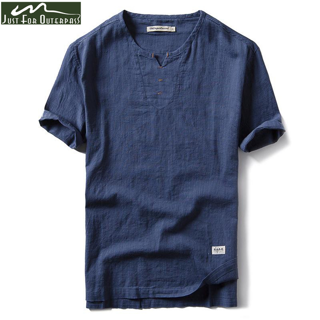 ff7f746b058 2018 New Summer Brand Shirt Men Short Sleeve Loose Thin Cotton Linen Shirt  Male Fashion Solid Color Trend V-Neck Tees Hi-Q