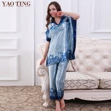 Plus Size New Spring Women Silk Satin Pajamas Pyjama Sets  2 Pcs Pijamas Nightgown Sexy Sleepwear Bathrobes  Night Gown 7828