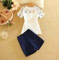 2016 Estilo de Las Mujeres Camisa Casual Tops + Pantalones Fijó el Verano Mujer Impreso Floral Top y Shorts Trajes Camisetas de Las Señoras Ropa conjuntos