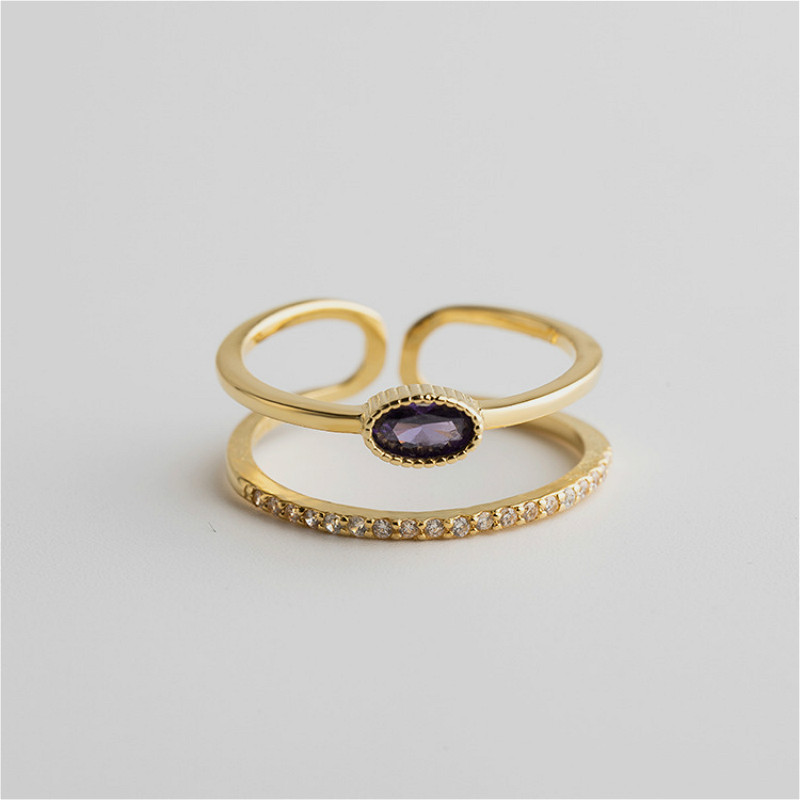 Flyleaf 925 Sterling Silver Rings For Women Double Layer Purple Zircon High Quality Femme Fashion Fine Jewelry Simple Open Ring in Rings from Jewelry Accessories