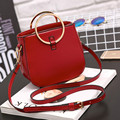 Women handbags 2017 pu leather crossbody bags solid color fashion messenger bags famous brand lady purse shoulder bags pink red