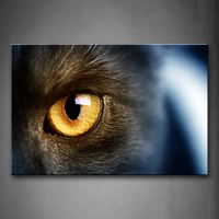 Unframed Wall Art Pictures Cat'Yellow Eye Canvas Print Modern Animal Posters Without Frames For Home Living Room Decor