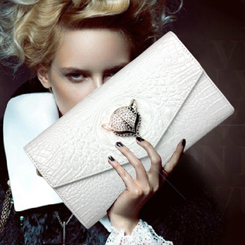 2017 New Arrival Wallet Women Fashion Genuine Leather Alligator Purse European Style Female Purses Clutch Wallets Crossbody Bag