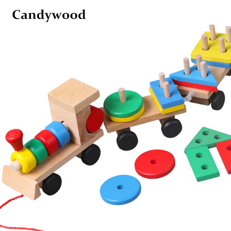 Wooden Car Toys Wooden Stacking Shape Geometry Train Toy Diecasts Vehiclec Set Combination Train Cars Kids Educational Toys