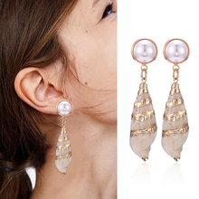 HOCOLE Fashion Sea Shell Earrings Vintage Gold Color Drop Pearl za Wholesale Factory Jewelry Vacation 2019