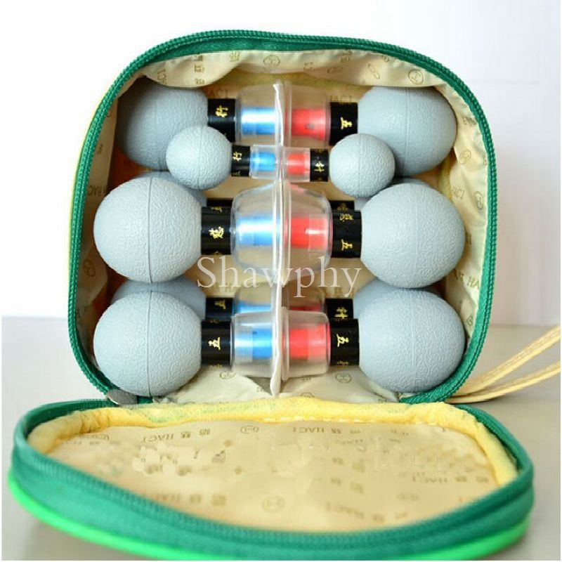 12 cups box massage Vacuum cupping set thicker magnetic aspirating cupping cans acupuncture massage suction cup in Massage Relaxation from Beauty Health