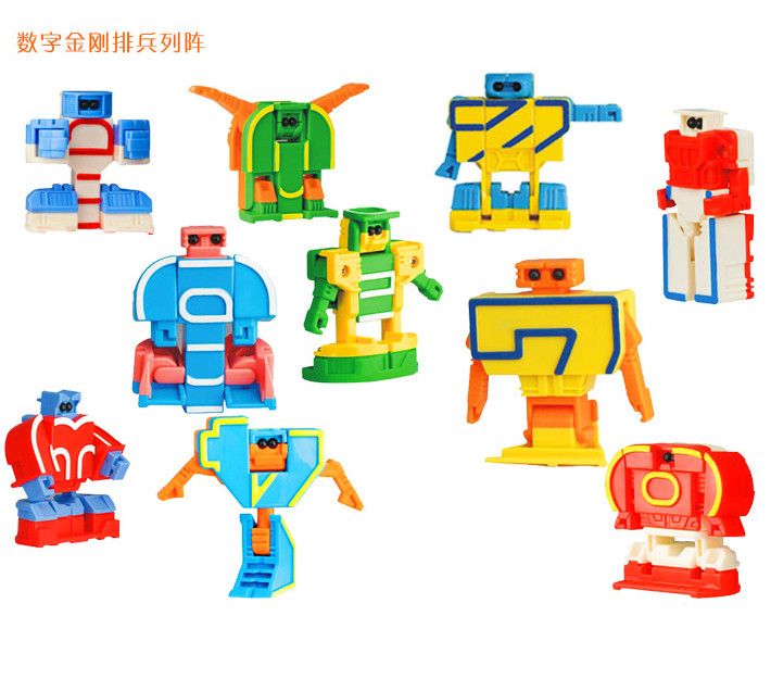15 Pcs/set  Mini Classic Transformation Plastic Numbers Robot  Action Figure Toys Children Educational Puzzle Toy Gifts 40%off electric spider robot toy diy educational intelligence development assembles kids children puzzle action toys kits