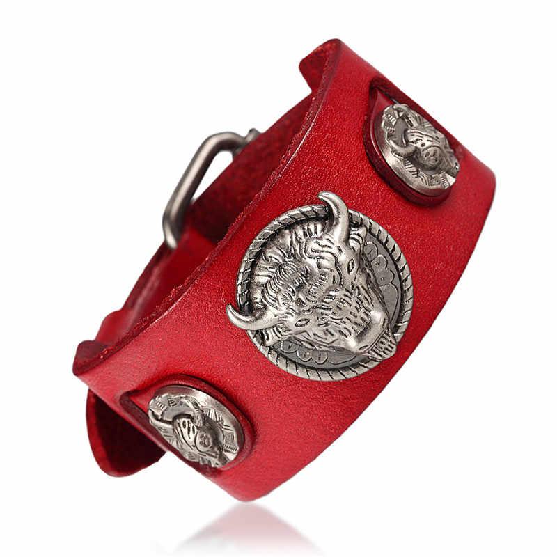 Commercio all'ingrosso ride to vivere braccialetti maschio Testa di Bue Cranio Retrò braccialetto homme Braccialetto Del Cuoio Genuino della Donna Degli Uomini dei braccialetti dei braccialetti