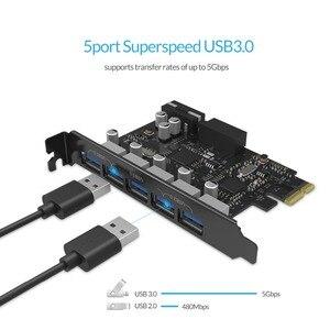 Image 3 - ORICO tarjeta postal de expansión PCI E, 5 puertos, USB 3,0, PCI Express, 5Gbps, Compatible con Windows XP Linux, con cable de alimentación de 4 pines