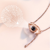 Angel's Eye Necklace Projection I Love You in 100 Languages Angel Eye Pendant Chain Romantic Love Wedding Christmas Necklaces