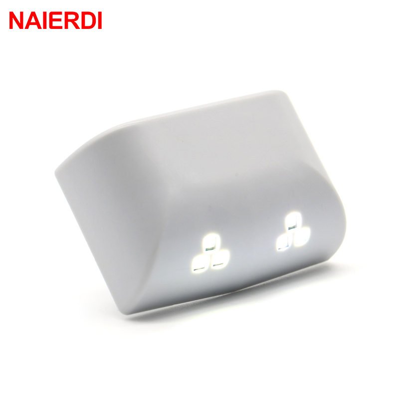 2PCS NAIERDI Universal 0.25W Inner Hinge Six LED Sensor Night Light For Kitchen Bedroom Living Room Cabinet Cupboard Wardrobe