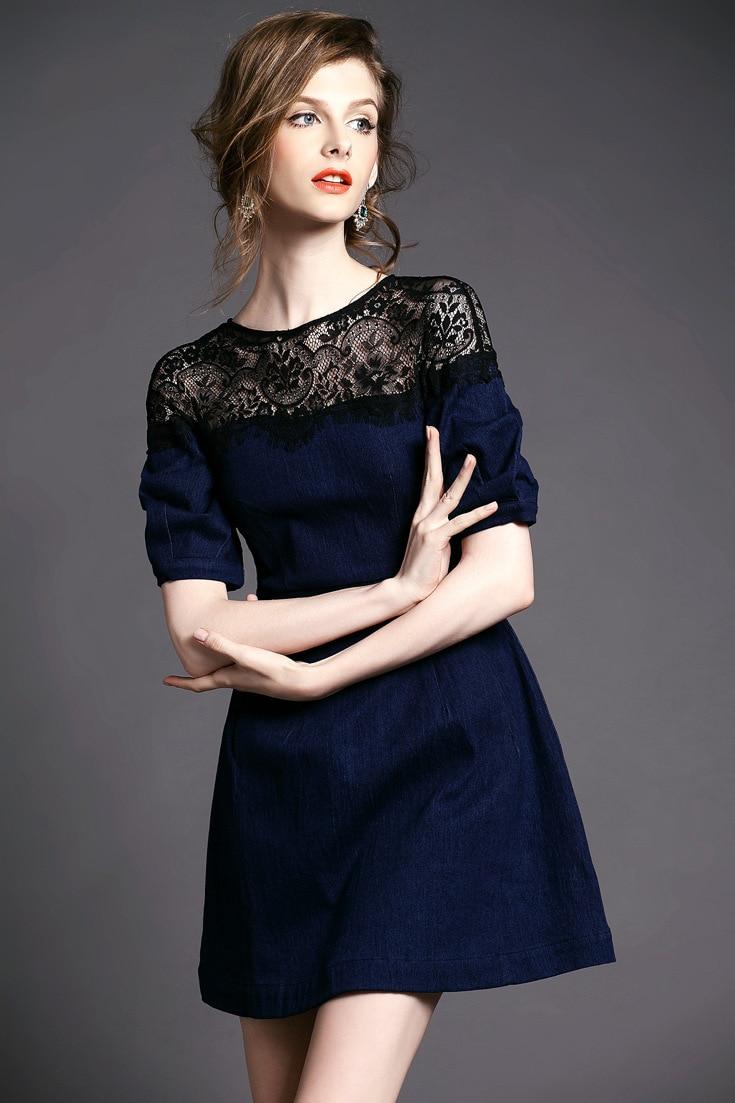 Plus Size Dark Blue Jeans Dress Women Half Sleeve Lace Patchwork ...