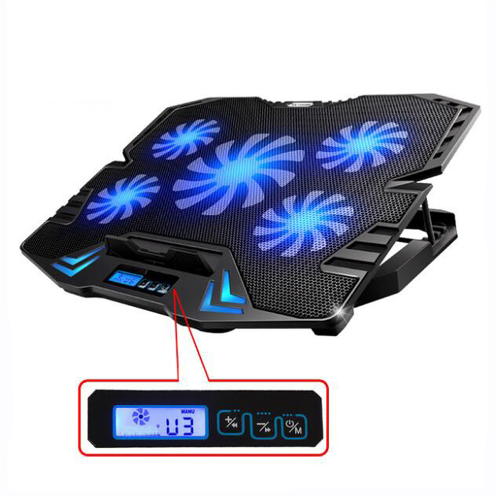 5-Fan Smart Cooling Pad for 12-15.6 Inch Laptop Notebook PCs with LED Touch Screen Speed Control Cooler for Notebook kikkerland lbm11 leuchtturm master ruled notebook 8 75 x 12 5 inch