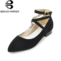 BONJOMARISA Women S Gladaitor Ankle Strap Flat Heels Leisure Shoes Woman Pointed Toe Nubuck Point Toe