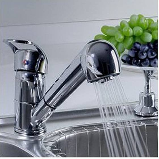 FUNN-Single Handle Low Arc Pull Out Kitchen Sink Faucet With Two Spray Model, Chrome