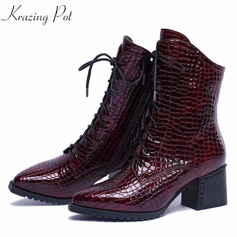 Krazing Pot new patterns leather keep warm thick high heels pointed toe mature superstar Korean designer
