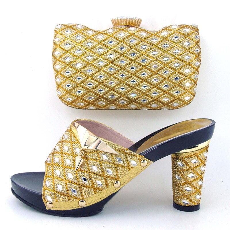 Golden matching Italian shoe and bag set heel height 9 cm Italian shoe and matching bag