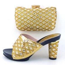 Altura del tacón de oro Italiano de zapatos a juego y conjunto de bolsas 9 cm de zapatos Italianos y bolso a juego para la boda sustitutos nuevo diseño