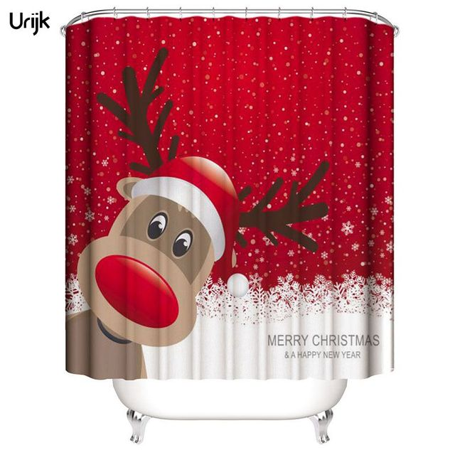 Urijk 1PC New Year Decoration Shower Curtain Waterproof Curtains Christmas Elk Printed Cortina For Bathroom With 12 Hooks Home