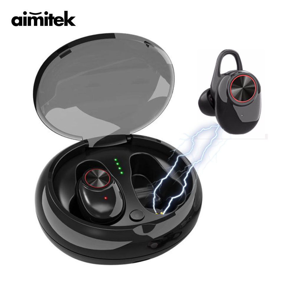 Aimitek <font><b>V5</b></font> Bluetooth V4.2 Earphones Mini <font><b>TWS</b></font> Earbuds Wireless Stereo Handsfree Car Headsets Charging Box with Mic for Smartphone image