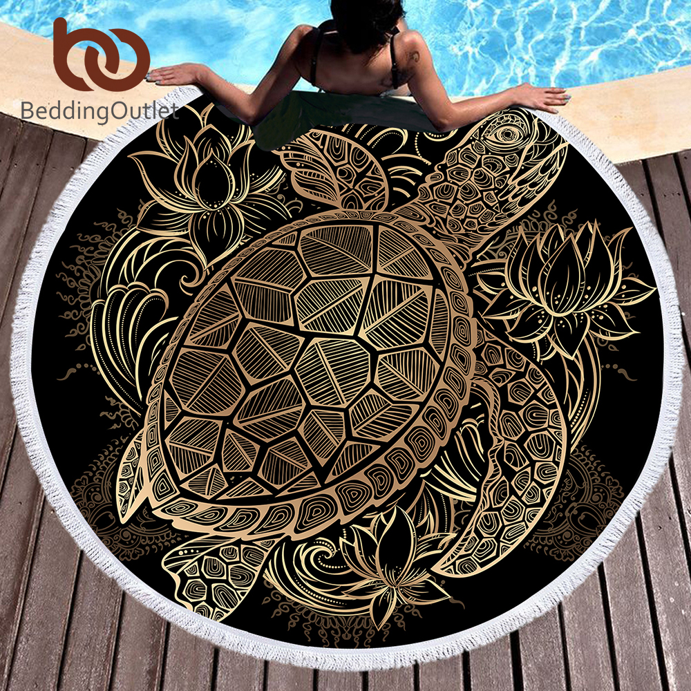 BeddingOutlet Turtles Bohemian Tassel Tapestry Flower Round Beach Towel Large for Adults Microfiber Toalla Blanket Tortoise Mat