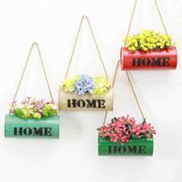 1 Pz Retro Cilindro Murali Vaso di Fiori In Ferro Cesto di Fiori A Casa Appeso Ciondolo Ornamenti Da Giardino Cesto Balcone Box Pianta Verde 3