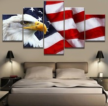 Frame 5 Piece Canvas Art American Flag Bald Eagle Poster Paintings on Wall for Home Decorations Decor Artwork