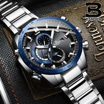Switzerland Genuine Luxury BINGER Watch Men's Mechanical Watch Fashion Sports Luminous Waterproof Running Automatic Watches Men